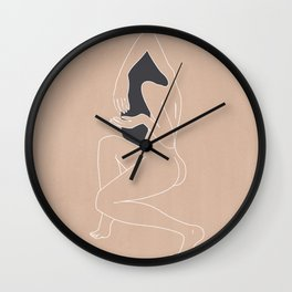 Minimalist Woman - Peach Wall Clock