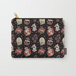 Old School Tattoo. Pattern. Black Carry-All Pouch