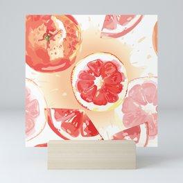 Grapefruit slices and juice splashes Mini Art Print