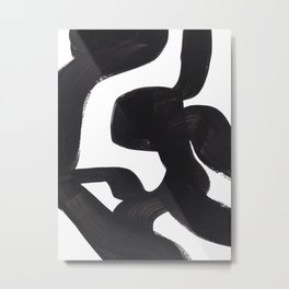 Black And White Minimalist Mid Century Abstract Ink Art African Style Tribal Maze Pattern Metal Print