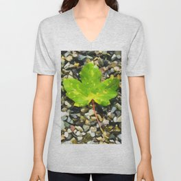 Green maple leaves Unisex V-Neck