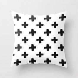 Black Plus on White  Throw Pillow