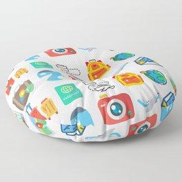 Travel Icons Floor Pillow