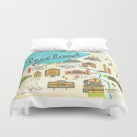 cleveland Duvet Covers featuring Hipster Cleveland by Emily Jankov