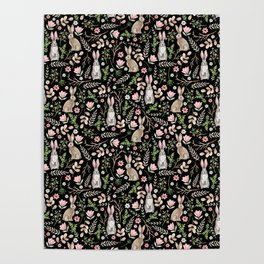 Cute rabbits. Black pattern Poster