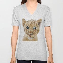 Baby lion cub animal Unisex V-Neck