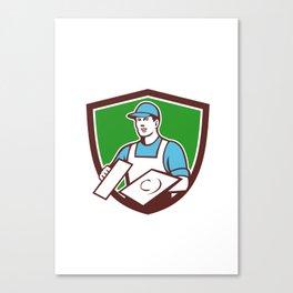 Plasterer Masonry Trowel Crest Retro Canvas Print