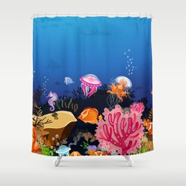 Beautiful Coral Reef Animals Shower Curtain
