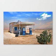 Gas Station Ghost Town in Desert Canvas Print