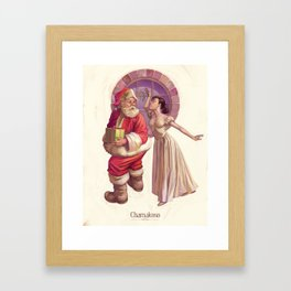 Kissing Santa Claus Framed Art Print