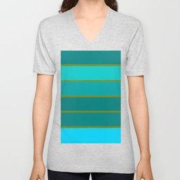 Teal Stripes Unisex V-Neck