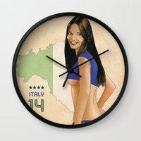 italy Wall Clocks featuring Italy by Kingdom Of Calm - Original Art & Illustr