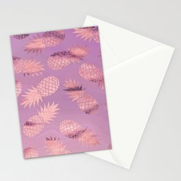 Pretty Pink & Rose Gold Pineapple Pattern Stationery Cards