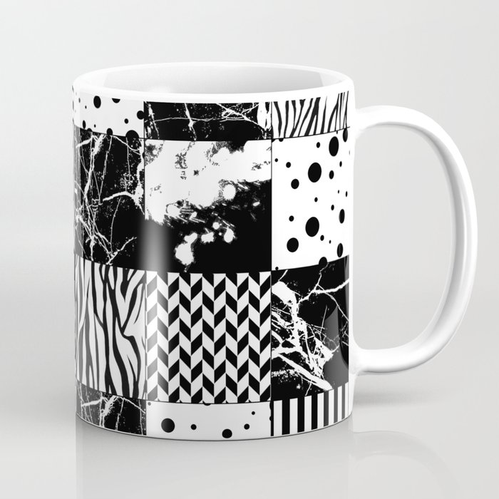 Eclectic Black and White Squares Coffee Mug