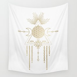 Golden Goddess Mandala Wall Tapestry