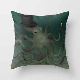 Octopus with a top hat Throw Pillow