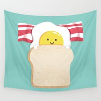 morning Wall Tapestries featuring Morning Breakfast by Picomodi
