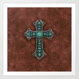 Brown and Turquoise Rustic Cross Art Print