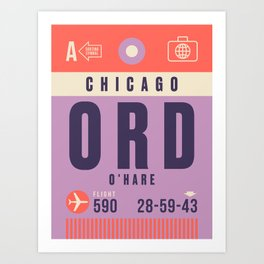 Retro Airline Luggage Tag - ORD Chicago O'Hare Art Print