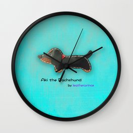 Aki the Dachshund by leatherprince Wall Clock