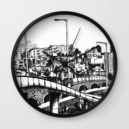 Han River BW Wall Clock