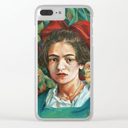 Young Frida Kahlo with Parrots Clear iPhone Case