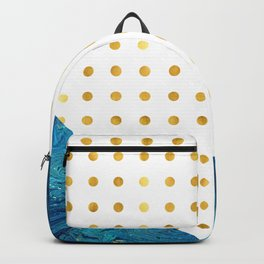 Luxurious blue crystal marble with golden dots Backpack