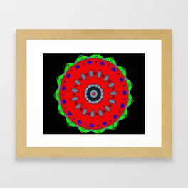Lovely Healing Mandala  in Brilliant Colors: Black, Maroon, Green, Red, Royal Blue, and Gray Framed Art Print