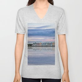 Rainbow houses in Netherlands Unisex V-Neck