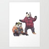 big poppa Art Prints featuring big poppa panda by K.Fields