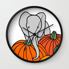 Big Elephant hanging out in the Pumpkin Patch for Halloween Wall Clock