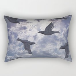 crows in the stormy sky Rectangular Pillow