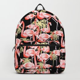 Pattern of flamingos among golden palm trees I Backpack