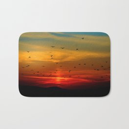 Sunrise in the moutains Bath Mat