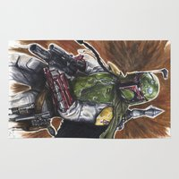 boba Area & Throw Rugs featuring Boba Fett by KristinMillerArt