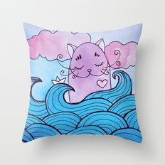 cat in the sea Throw Pillow
