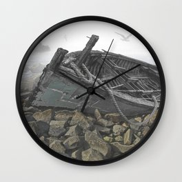 Boat Beached on a Rocky Shore in the Mist Wall Clock