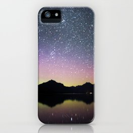 northern lights over lake mcdonald iPhone Case