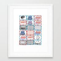 stickers Framed Art Prints featuring STREET STICKERS by John Jr Badd Habits