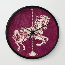 Vintage Carousel Horse - Mulberry Wall Clock