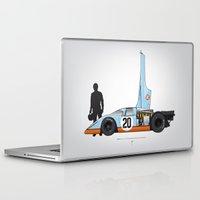 steve mcqueen Laptop & iPad Skins featuring Outline Series N.º4, Steve McQueen, Porsche 917, Le Mans movie 1971 by Ricardo Santos