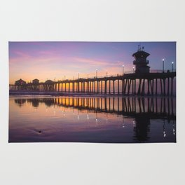 Sunset At Low Tide At The Huntington Beach Pier Rug
