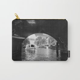 Tourboat about to go under a bridge on Amsterdam canal Carry-All Pouch