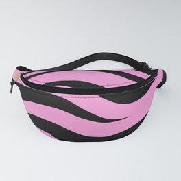 Black On Pink Zebra Stripes Fanny Pack