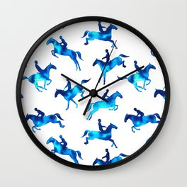 Watercolor Showjumping Horses (Blue) Wall Clock