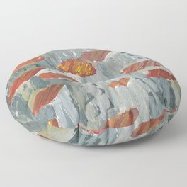 toits rouges Floor Pillow