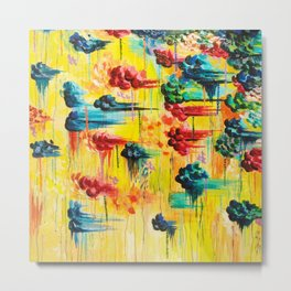 HERE COMES THE RAIN - Abstract Acrylic Painting Rain Storm Clouds Colorful Rainbow Modern Impasto Metal Print