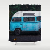 vw bus Shower Curtains featuring Vintage VW Bus Rusted  by Limitless Design