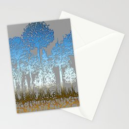 Blue and white forest Stationery Cards