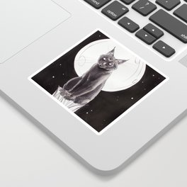 Black Cat and the Moon Sticker
